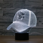 Baseball Cap Shape 3D Colorful LED Vision Light Table Lamp, Charging Touch Version