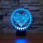 Gear Heart Shape 3D Colorful LED Vision Light Table Lamp, 16 Colors Remote Control Version