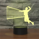 Playing Volleyball Shape 3D Colorful LED Vision Light Table Lamp, Charging Touch Version