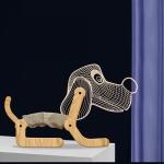 Big Ear Dog Shape Bedroom Children Room 3D Folding Wood Lamp Night Light (Warm White)