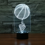 Basketball Black Base Creative 3D LED Decorative Night Light, Rechargeable with Touch Button
