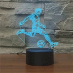 Play Football Black Base Creative 3D LED Decorative Night Light, Powered by USB and Battery