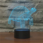 Tortoise Black Base Creative 3D LED Decorative Night Light, Rechargeable with Touch Button