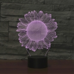 Sunflower Black Base Creative 3D LED Decorative Night Light, Rechargeable with Touch Button