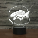 Fishing Black Base Creative 3D LED Decorative Night Light, Rechargeable with Touch Button