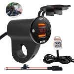 ZH-975B3 Motorcycle Aluminum Alloy Waterproof Mobile Phone Double QC3.0 Quick Charging Charger with Voltmeter (Black)