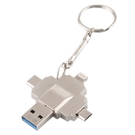 iDiskk U022 32GB 4 in 1 8 Pin + USB-C / Type-C + Micro USB  + USB 3.0 Interface USB Flash Drive