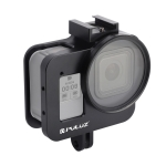 PULUZ Housing Shell CNC Aluminum Alloy Protective Cage with 52mm UV Lens for GoPro HERO8 Black (Black)