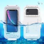 PULUZ 45m Waterproof Diving Housing Photo Video Taking Underwater Cover Case for iPhone 11, iPhone X, iPhone 8 & 7, iPhone 6 & 6s, iOS 13.1 or Above Version iPhone(White)