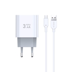 TOTUDESIGN Minimal Series CACA-021 3.4A Dual Micro USB Ports Travel Charger + Micro USB Data Cable Set, EU Plug