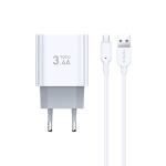 TOTUDESIGN Minimal Series CACA-021 3.4A Dual Micro USB Ports Travel Charger + Micro USB Data Cable Set, EU Plug