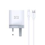 TOTUDESIGN Minimal Series CACA-021 3.4A Dual Micro USB Ports Travel Charger + Micro USB Data Cable Set, UK Plug