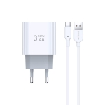 TOTUDESIGN Minimal Series CACA-021 3.4A Dual USB-C / Type-C Ports Travel Charger + USB-C / Type-C Data Cable Set, EU Plug