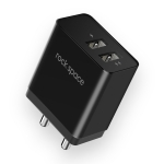ROCK T8 2.4A Double USB Port Travel Charger Power Adapter (Black)