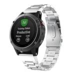 For Garmin Fenix 5 Three-Bead Stainless Steel Metal Watchband(Silver), Size:22MM