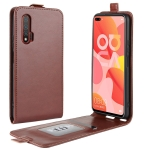 For Huawei Nova 6 R64 Texture Single Vertical Flip Leather Protective Case with Card Slots & Photo Frame(Brown)