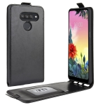 For LG K50S R64 Texture Single Vertical Flip Leather Protective Case with Card Slots & Photo Frame(Black)