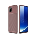 For Galaxy A81 / M60s Carbon Fiber Texture Shockproof TPU Case(Brown)