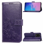 For Galaxy S11 Plus Lucky Clover Pressed Flowers Pattern Leather Case with Holder & Card Slots & Wallet & Hand Strap(Purple)