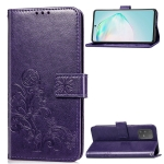 For Galaxy S10 Lite / A91 / M80s Lucky Clover Pressed Flowers Pattern Leather Case with Holder & Card Slots & Wallet & Hand Strap(Purple)