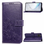 For Galaxy Note10 Lite/A81/M60s Lucky Clover Pressed Flowers Pattern Leather Case with Holder & Card Slots & Wallet & Hand Strap(Purple)