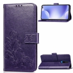 For Xiaomi Redmi K30 Lucky Clover Pressed Flowers Pattern Leather Case with Holder & Card Slots & Wallet & Hand Strap(Purple)