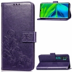 For Xiaomi Mi Note10 Pro Lucky Clover Pressed Flowers Pattern Leather Case with Holder & Card Slots & Wallet & Hand Strap(Purple)
