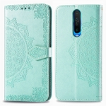 For Xiaomi Redmi K30 Halfway Mandala Embossing Pattern Horizontal Flip Leather Case with Holder & Card Slots & Wallet & Photo Frame & Lanyard(Green)