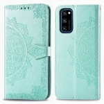For Huawei Honor V30 Pro / V30 Halfway Mandala Embossing Pattern Horizontal Flip Leather Case with Holder & Card Slots & Wallet & Photo Frame & Lanyard(Green)