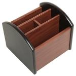 4-compartment Wooden Storage Box Pen Holder