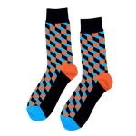 Personality Fashion Couple Socks Plaid Cotton Tube Socks, Size:One Size(Black Orange)