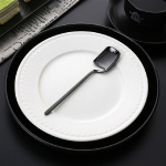 Stainless Steel V-shaped Wall Hanging Design Simple Coffee Spoon Fork Creative Long Handle Stirring Tableware, Style:Spoon, Color:Black