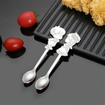 2 Sets Stainless Steel Tableware Creative Cartoon Couple Spoon Hanging Cup Spoon Coffee Stirring Spoon, Color:Primary Color