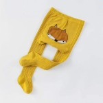 Cartoon Cute Baby Girls Soft Cotton Tight Pantyhose, Size:L(Yellow)