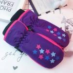 Winter Ski Waterproof Windproof Warm Mittens Children Gloves, Suitable Age:5-8 Years Old(Purple Stars)