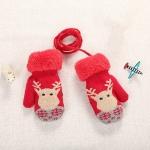 Red Cute Elk Pattern Winter Double-layer Plus Velvet Outdoor Cold-proof Children Gloves, Size:14 x 8cm
