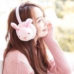Ladies Winter Cute Cartoon Rabbit Plush Earmuffs(Purple Pink)