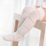 3 Pairs Baby Girls Soft Knee High Socks Toddler Kids Long Cotton Socks, Size:S(White)