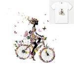 10 PCS Cycling Girl Pattern Heat Transfer DIY Clothes Cloth Sticker(N128)