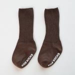 Autumn and Winter Non-Slip Baby High Knee Socks Boneless Loose Mouth Double Needle Children Pile Socks, Size:S(Coffee)