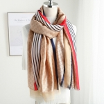 Autumn & Winter Simulation Silk Scarf Striped Double Scarf for Female, Size:180 x 90cm(Khaki)