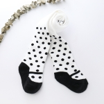 Autumn and Winter Striped Polka Dot Leggings Thick Terry Warm Baby Trousers, Size:27-29(White Dot)