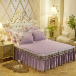 Luxury Thick Cotton Bed Skirt with Lace Edge Non-slip Bedding Set, Size:2.0×2.2m(3-Piece)(Violet)