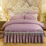 Luxury Thick Cotton Bed Skirt with Lace Edge Non-slip Bedding Set, Size:1.5×2.0m(4-Piece)(Violet)