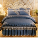 Luxury Thick Cotton Bed Skirt with Lace Edge Non-slip Bedding Set, Size:1.8×2.0m(4-Piece)(Dark Blue)
