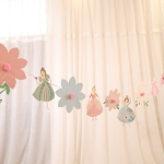 Bunting Pull Flower Cartoon Children Party Decoration Pull Flag Party Event Decoration Background