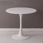 Home Round Table Coffee Shop Table Simple Leisure Wooden Round Table, Color:White(70cm)