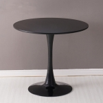 Home Round Table Coffee Shop Table Simple Leisure Wooden Round Table, Color:Black(60cm)