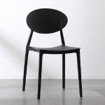 Plastic Chair Back Stool Modern Minimalist Home Dining Chair Computer Chair(Black)