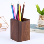 Multifunctional Wooden Chinese Style Student Pen Holder, Color:Walnut